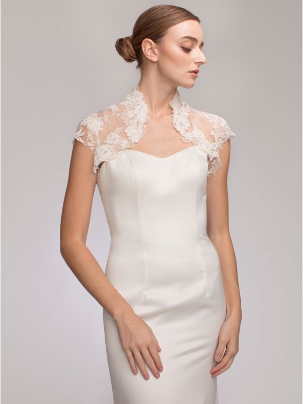 Embroidered Cap Sleeves Bridal Jacket