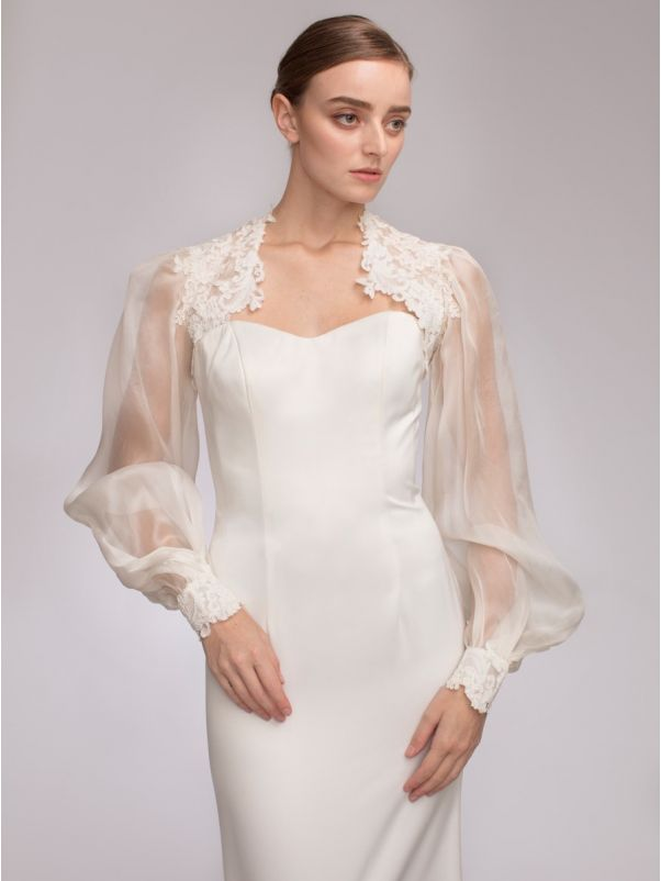 Bishop Sleeves Silk Organza Bridal Jacket