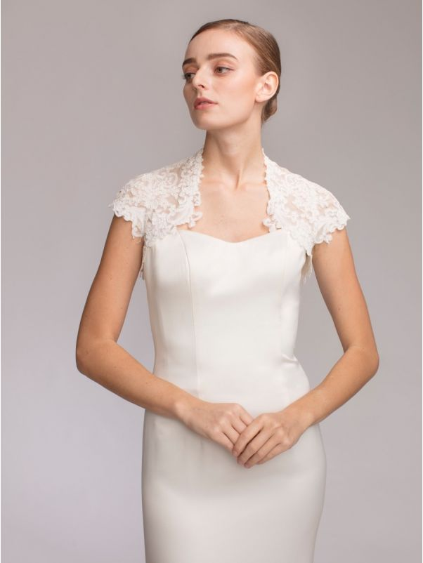 Cap Sleeves Lace Bridal Jacket
