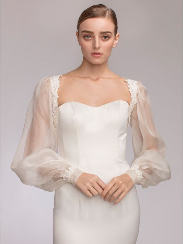 Long Sleeves Silk Organza Bridal Jacket