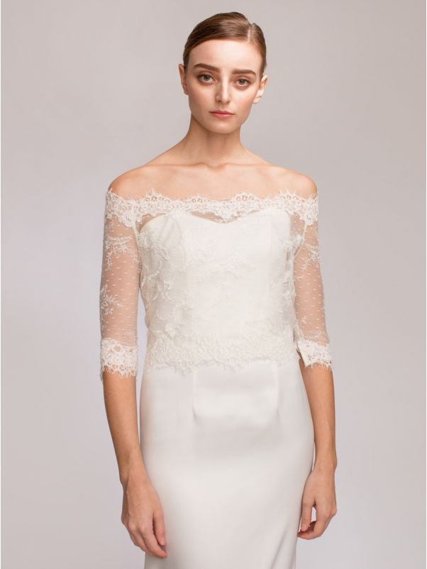 Off-Shoulder Bridal Lace Jacket