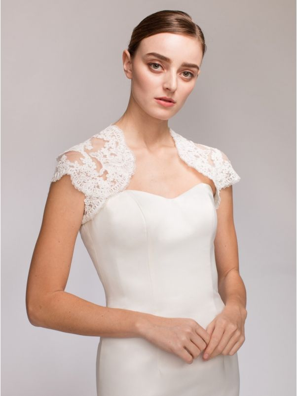Cap Sleeves Bridal Lace Jacket