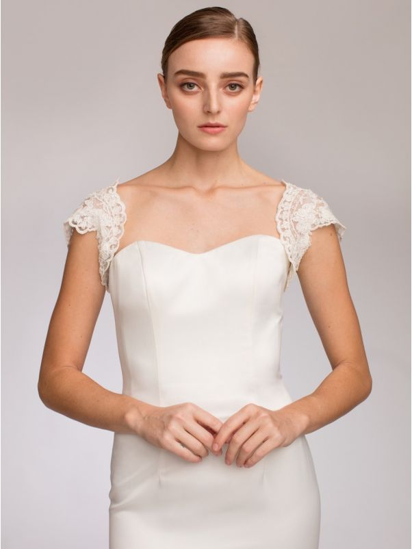 Beaded Cap Sleeves Lace Bridal Jacket