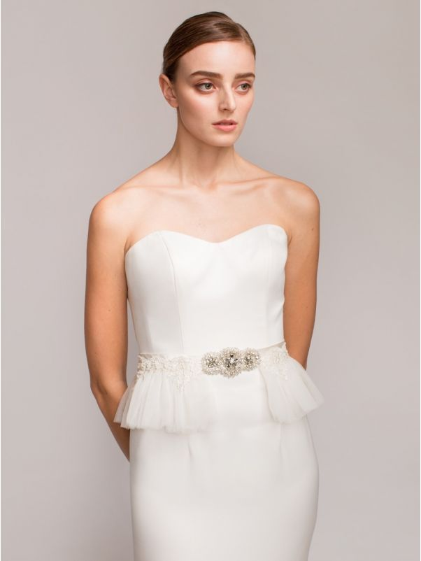 Embellished Bridal Satin Peplum Belt