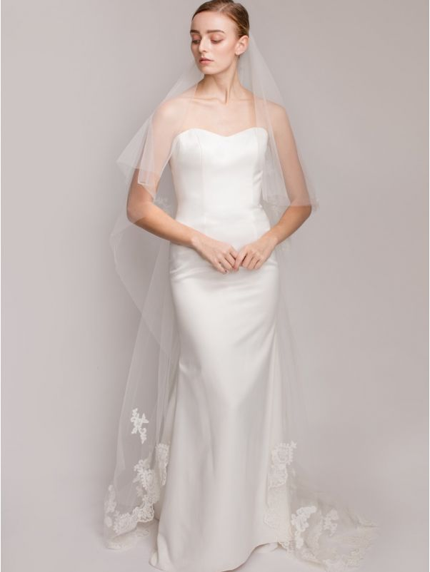 Long Wedding Veil with Lace Appliques